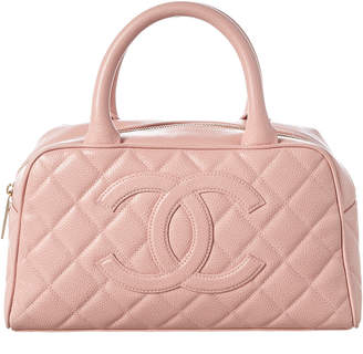 Chanel Pink Quilted Caviar Leather Mini Bowler Bag