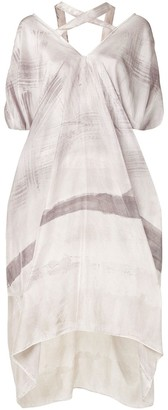 Masnada V-neck ink print silk dress