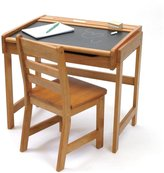 Lipper Child's Chalkboard Desk and Chair Set, Pecan