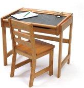 Lipper Child's Chalkboard Desk and Chair Set, Pecan