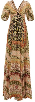 Etro West Midlands Floral-print Silk Gown - Womens - Yellow Multi