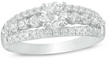 Zales 1 CT. T.W. Diamond Multi-Row Engagement Ring in 14K White Gold