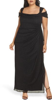 Alex Evenings Cold Shoulder Glitter Column Gown