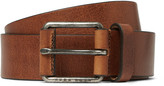 Hugo Boss - 3.5cm Brown Selesio Burnished-leather Belt