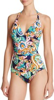 Tommy Bahama Paisley Print Halter One-Piece Swimsuit