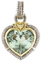 Judith Ripka Two-Tone Prasiolite & Diamond Heart Pendant