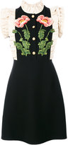 Gucci floral embroidered dress - women - Silk/Acetate/Wool - 40