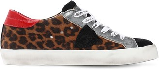 Philippe Model Paris Leopard Leather Lace-Up Sneakers