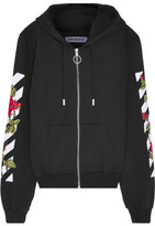 Off-White Embroidered Cotton-jersey Hooded Top - Black