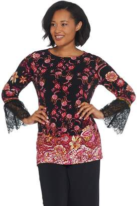 Susan Graver Printed Liquid Knit Tunic w/ Lace Trimmed Sleeves