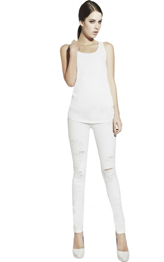 Alice + Olivia Distressed Long Tank