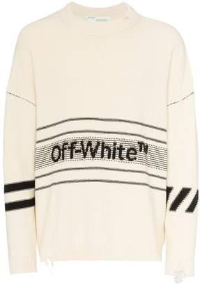 Off-White logo intarsia distressed cotton-blend jumper