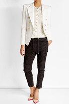 Balmain Linen Blend T-Shirt with Embossed Buttons