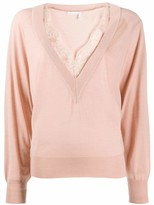 Chloé V-Neck Sweater with Lace Trim