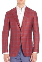 Canali Windowpane Checked Wool Blend Jacket