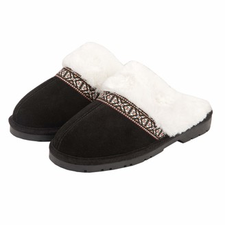 Jessica Simpson Women's Suede Plush Slip on Scuff House Slipper with Indoor/Outdoor Sole