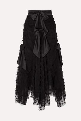 Rodarte Bow-detailed Appliqued Tulle Maxi Skirt - Black