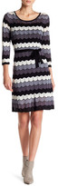 Taylor Zig Zag Knit Belted Sweater Dress