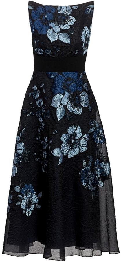 Lela Rose Degrade Floral Boatneck Dress
