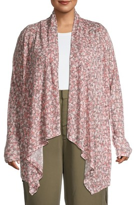 Bobeau Draped Open-Front Cardigan