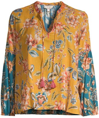 Johnny Was Effortless Printed Cotton Peasant Blouse