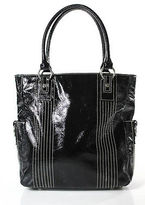 Nordstrom Black Spazzolato Leather Silver Tone Ring Shoulder Tote Handbag