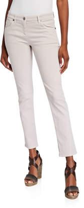 Brunello Cucinelli Low-Rise Skinny Jeans, Green Tea