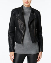 Wildflower Faux-Leather Moto Jacket, Only at Macy's