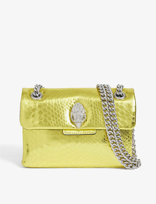Kurt Geiger Mini Kensington snake-embossed metallic leather shoulder bag