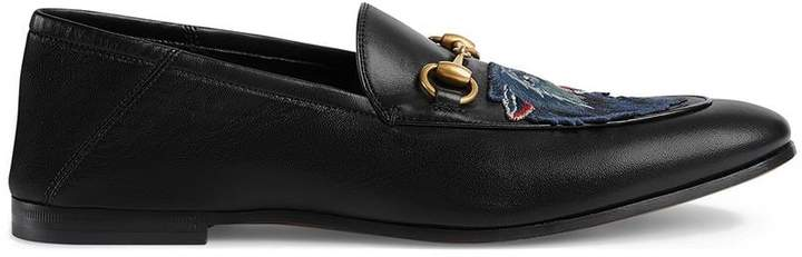 Gucci Leather loafer with wolf