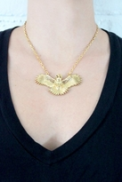 Wildfox Couture Jewelry Owl Necklace with Crystal Wings in Gold