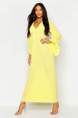 boohoo Woven Ruffle Sleeve Neck Maxi Dress