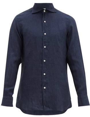 Finamore 1925 - Gaeta Tailored Slubbed Linen Chambray Shirt - Mens - Indigo