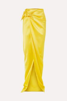Balenciaga Satin Wrap Maxi Skirt - Yellow