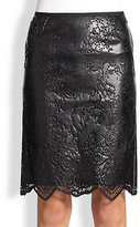 Sacai Luck Faux Leather Lace Skirt