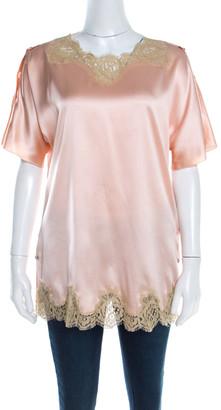 Dolce & Gabbana Peach Satin Silk Lace Trimmed Kimono Sleeve Blouse S