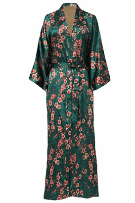 BABEYOND Women's Kimono Dressing Gown Satin Kimono Cardigan Long Robe Chinese Japanese Style for Nightwear Girl's Bonding Party Wedding Pajama Party 135cm/53inches(Darkgreen)