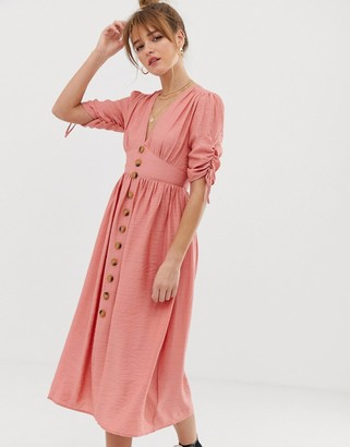 Glamorous button front midi tea dress with full skirt and ruched sleeves