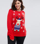 Brave Soul Plus Christmas Reindeer Jumper