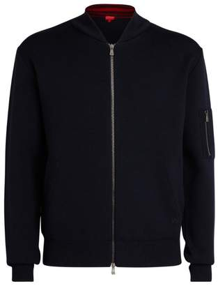Isaia Wool Knitted Bomber Jacket