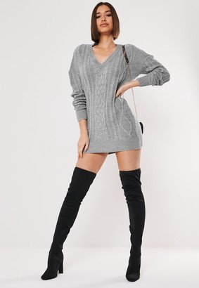 Missguided Grey V Neck Cable Knitted Jumper Dress