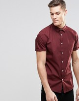 Asos Smart Shirt In Burgundy With Short Sleeves