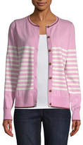 ST. JOHN'S BAY St. John`S Bay Womens Crew Neck Long Sleeve Button Open Front Striped Cardigan