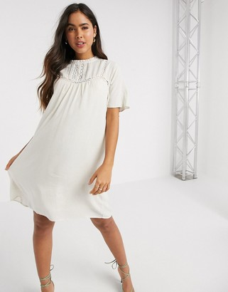 Vila mini smock dress with crochet detail in white