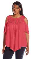 Democracy Women's Plus Size Crinkled Woven Cold Sholder with Flutter Sleeve and Hankey Hem