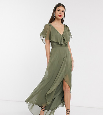 Asos Tall ASOS DESIGN Tall maxi split sleeve cape back dress with tie shoulder