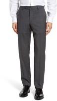 Incotex Men's Flat Front Plaid Stretch Wool Trousers