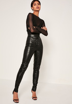 Missguided Tall Exclusive Black Faux Leather Lace Up Trousers