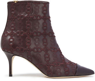 Tory Burch Embroidered Smooth And Patent-leather Ankle Boots