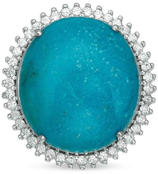 Zales Oval Turquoise and White Zircon Frame Ring in Sterling Silver